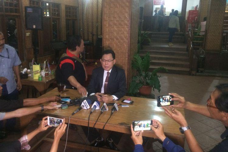 Juru Bicara Kepala BIN Wawan Hari Purwanto Saat Konferensi Pers di daerah bilangan Jakarta Selatan, Pancoran, Senin (27/8/2018)