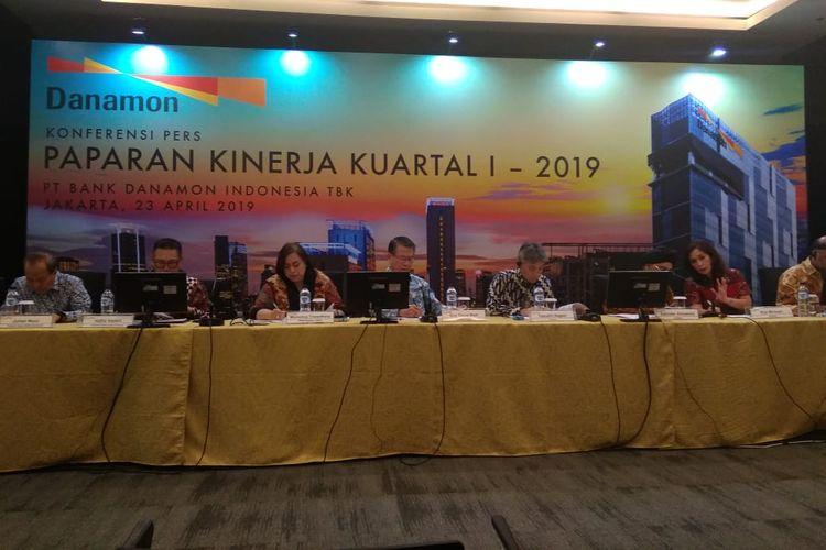 Laporan Keuangan Bank Danamon Pada Kuartal I-2019 di Jakarta, Selasa (23/4/2019)
