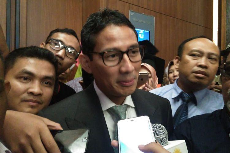 Calon wakil presiden nomor urut 02, Sandiaga Uno, di ICE BSD, Tangerang Selatan, Kamis (2/5/2019).