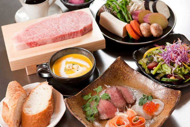 Set menu makan siang di Kobe Steak Ishida