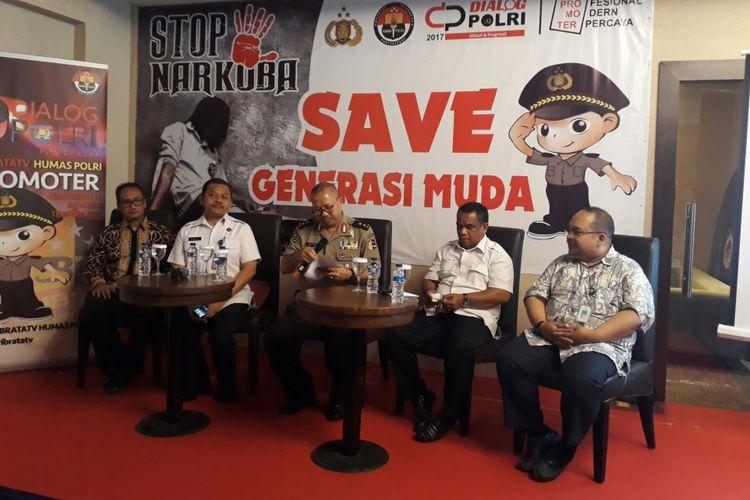 Acara diskusi dengan tema Stop Narkoba Save Generasi Muda, di Kebayoran Baru, Jakarta Selatan, Selasa (14/11/2017).