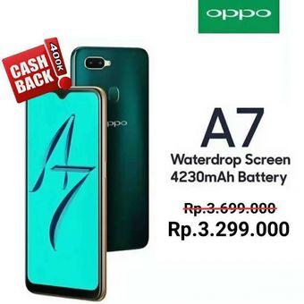 Oppo A7 turun harga menjadi Rp 3,3 juta di Indonesia selama bulan Desember 2018.
