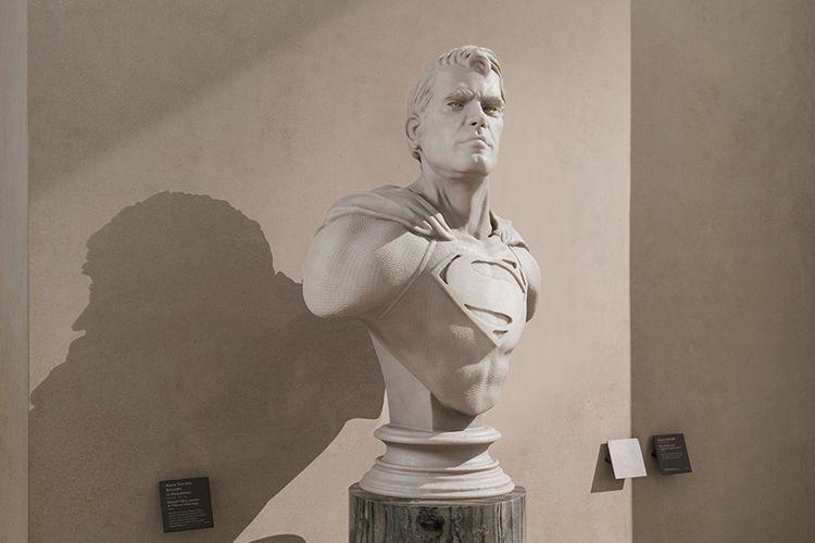 Patung batu Superman karya Leo Calliard.