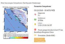 Gempa Hari Ini: M 5,1 di Bengkulu, Tak Berpotensi Tsunami