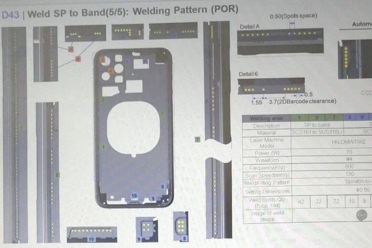Gambar rancangan yang diduga merupakan purwarupa dari iPhone 11.