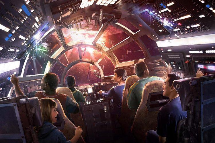 Konsep Millennium Falcon yang tengah dibangun Disney untuk Star Wars: Galaxy?s Edge mereka.