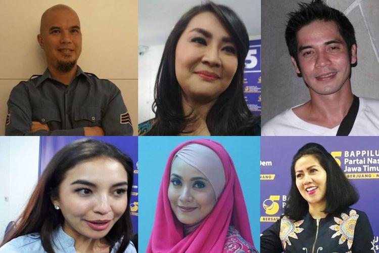 Sejumlah caleg artis yang akan berlaga dalam pemilihan legislatif 2019 yakni Ahmad Dhani, Tessa Kaunang, Ricky Perdana, Manohara, Elma Theana, Venna Melinda.