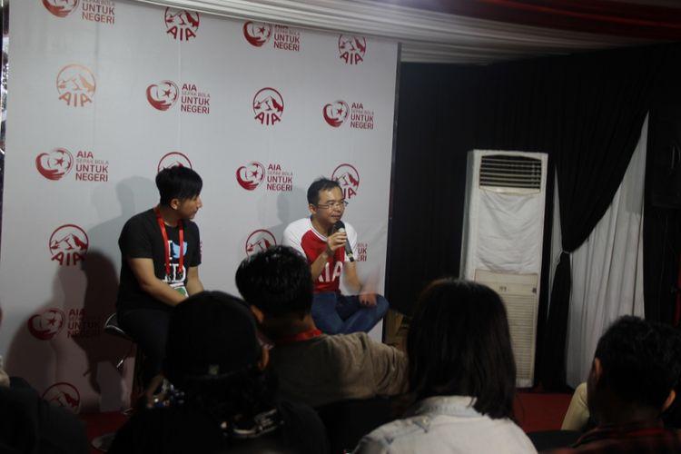 Chief Marketing Officer AIA, Lim Chet Ming, saat menjalani sesi konferensi pers bersama media pada acara AIA Sepak    Bola untuk Negeri, Minggu (25/3/2018).