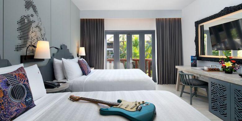 Kamar yang baru direnovasi di hotel Hard Rock Bali.