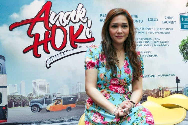 Artis musik Maia Estianty dalam jumpa pers film Anak Hoki di Mall Bellagio, Mega Kuningan, Jakarta Selatan, Selasa (17/4/2018).