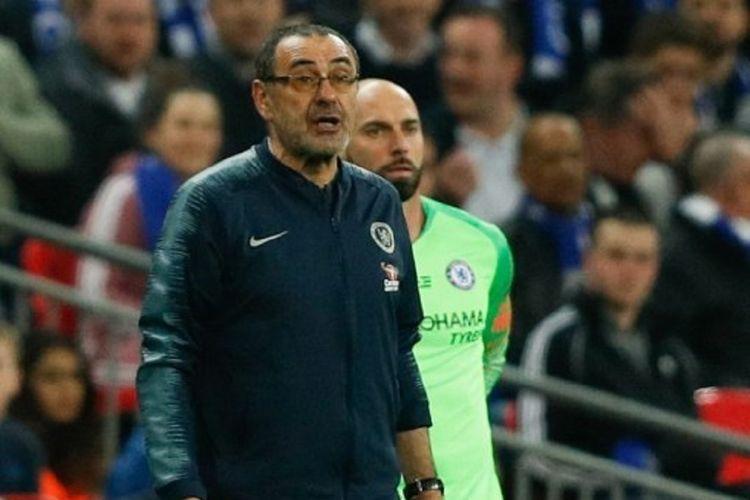 Manajer Chelsea, Maurizio Sarri, marah karena penjaga gawangnya, Kepa Arrizabalaga menolak diganti pada laga melawan Manchester City di final Piala Liga Inggris, 24 Februari 2019.