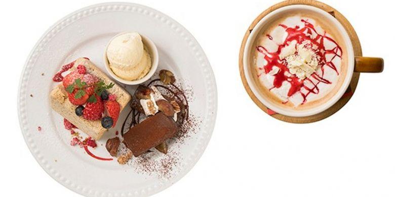 Amis White Raspberry Latte dan Sweets Set berisi 2 kue dan 1 gelas minum