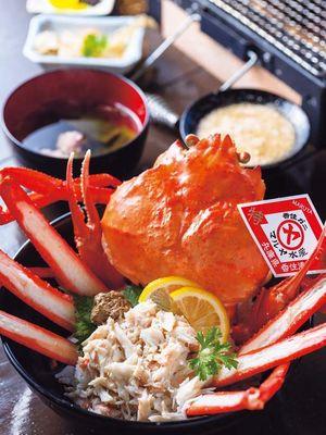 Maruya Rice Bowl yang terkenal ((¥2,500) berbahan kepiting Kasumi utuh berkualitas tinggi