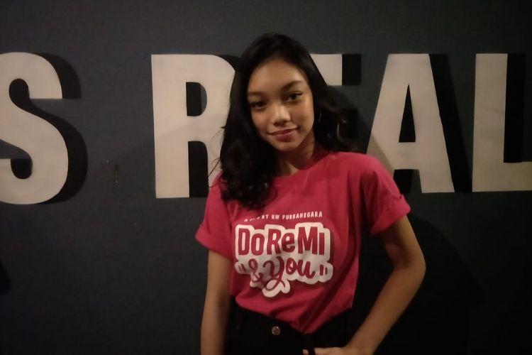 Naura saat ditemui usai acara Meet & Greet Film Doremi & You di D Mall, Depok, Jawa Barat, Selasa (18/6/2019).