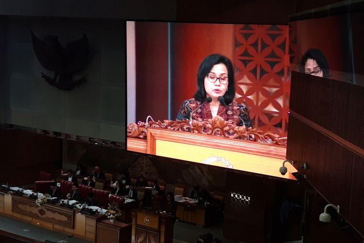 Menteri Keuangan Sri Mulyani Indrawati saat memberikan pidato dalam pengesahan Rancangan Undang-Undang Pertanggungjawaban Pelaksanaan APBN 2017 di Gedung DPR RI, Kamis (25/7/2018).