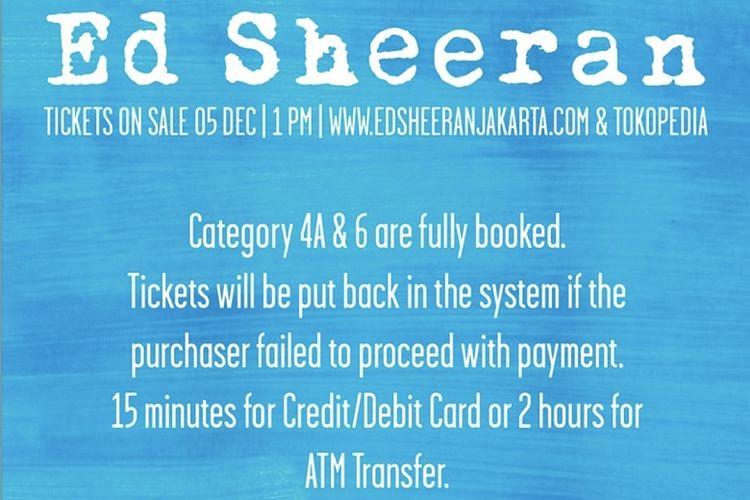 Informasi penjualan tiket konser Ed Sheeran di Jakarta.