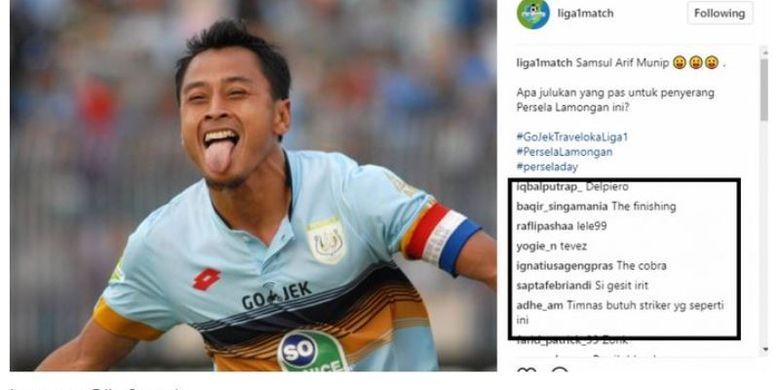Pujian yang diberikan warganet kepada striker Persela Lamongan, Samsul Arif, setelah mencetak gol spektakuler ke gawang Barito Putera, Jumat (28/7/2017).
