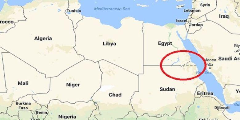 Bagian yang dilingkari di dalam peta ini menunjukkan lokasi Bir Tawil, wilayah tak bertuan di antara Mesir dan Sudan.