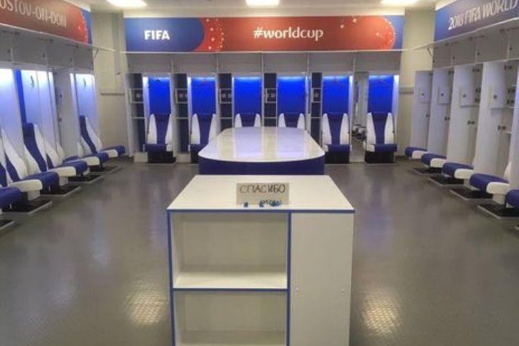Kondisi ruang ganti yang ditinggalkan skuad Jepang usai kalah dari Belgia pada babak 16 besar Piala Dunia 2018.
