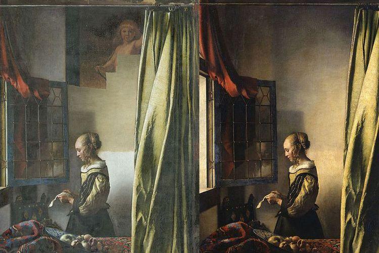 Kiri, lukisan Vermeer yang baru setengah jalan direstorasi. Kanan, lukisan yang belum direstorasi.