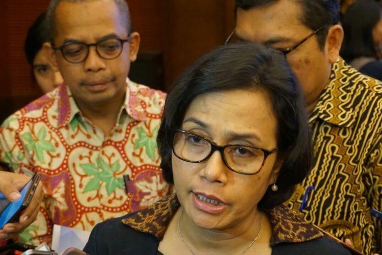 Menteri Keuangan Sri Mulyani Indrawati usai konfrensi pers di Kementerian Keuangan, Jakarta, Selasa (2/1/2018).
