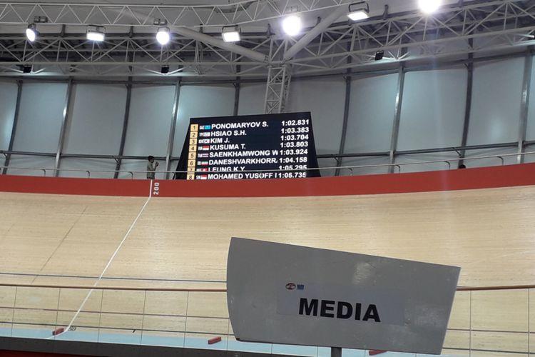 Hasil akhir catatan waktu dan peringkat pebalap di nomor time trial 1 kilometer elit putra, Asian Track Championships 2019, di Jakarta International Velodrome, Rawamagun, Jakarta Timur, Jumat (11/1/2019).