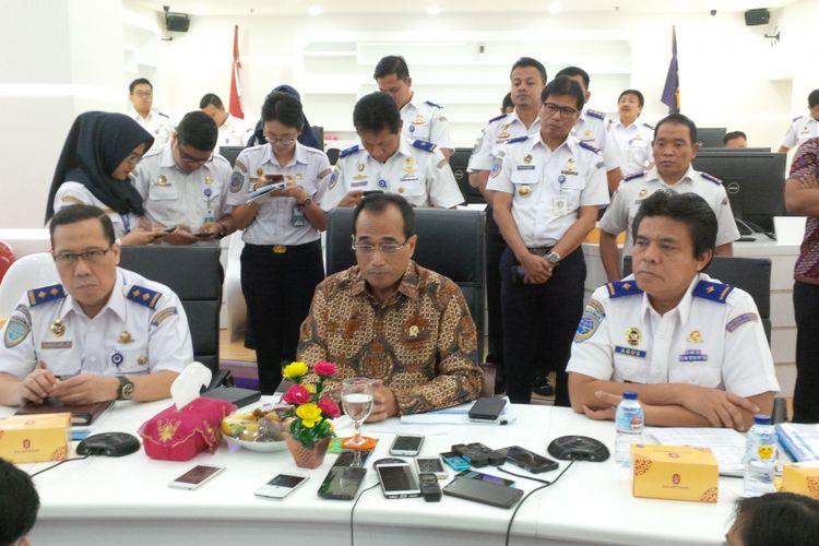 Menteri Perhubungan, Budi Karya Sumadi saat ditemui di Kantor Kemenhub, Jakarta, Selasa (5/9/2017).
