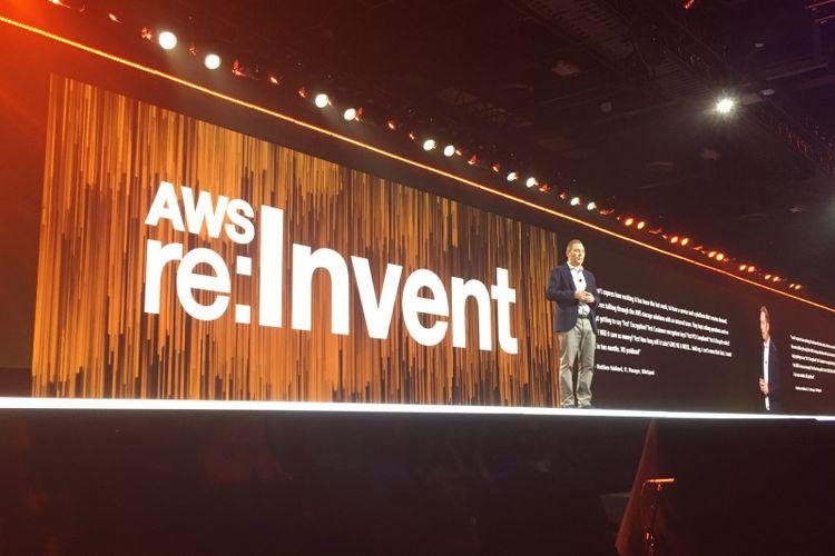 CEO Amazon Web Services (AWS) Andy Jassy di panggung utama AWS re: Invent 2017 di Las Vegas, Amerika Serikat, Rabu (29/11/2017) waktu setempat atau Kamis (30/11/2017) WIB.