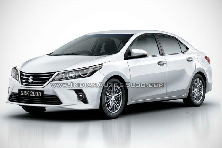 Render Toyota Corolla menggunakan emblem Suzuki.