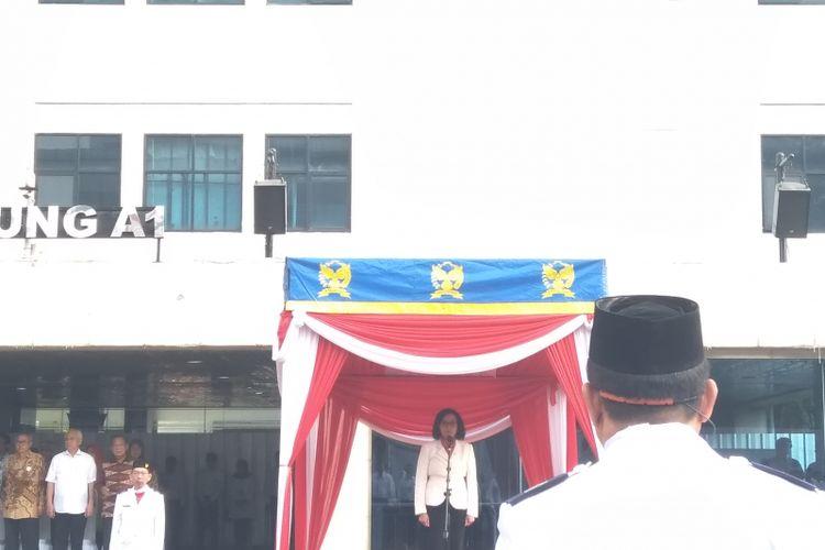 Menteri Keuangan Sri Mulyani Indrawati saat menjadi pembina upacara saat perayaan Hari Pajak di Kantor Pusat Direktorat Jenderal Pajak, Sabtu (14/7/2018).