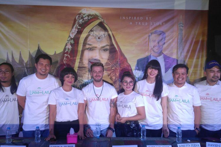 Para pemeran film Liam Dan Laila dalam jumpa pers di kawasan Tebet, Jakarta Selatan, Rabu (12/9/2018). Turut hadir diantaranya Nirina Zubir, David Chalik dan Jonatan Cerrada.