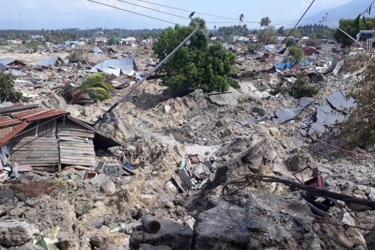 Kondisi Kelurahan Balaroa di Sulawesi Tengah yang hancur ditelan bumi setelah gempa bumi dahsyat mengguncang Sulawesi Tengah.