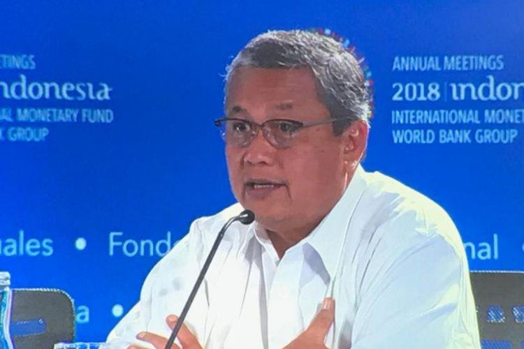 Gubernur Bank Indonesia Perry Warjiyo saat menghadiri Pertemuan Tahunan IMF-Bank Dunia di Nusa Dua, Bali, Senin (8/10/2018).
