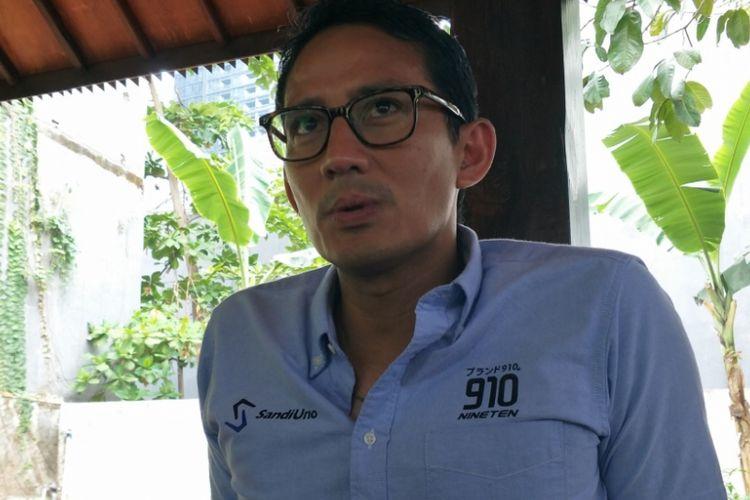 Calon Wakil Presiden nomor urut 02 saat ditemui di kediamannya di kawasan Jakarta Selatan, Sabtu (27/10/2018).