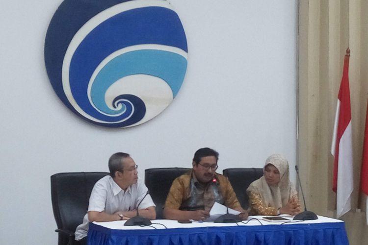 Konferensi pers terkait pencabutan izin frekuensi First Media di Kominfo, Jakarta, Jumat (28/12/2018).