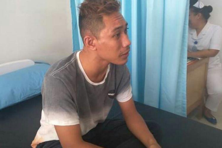 Tri Aditya saat berada di rumah sakit swasta Jalan Seram Pematangsiantar, Sabtu (12/1/2019).