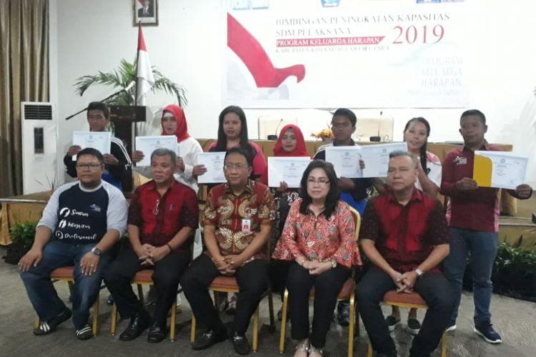 Kegiatan Bimbingan Peningkatan Kapasitas SDM Pelaksana Program Keluarga Harapan (PKH) Kabupaten dan Kota se-Sulut yang dilaksanakan di Minahasa Utara, Jumat (8/2/2019).