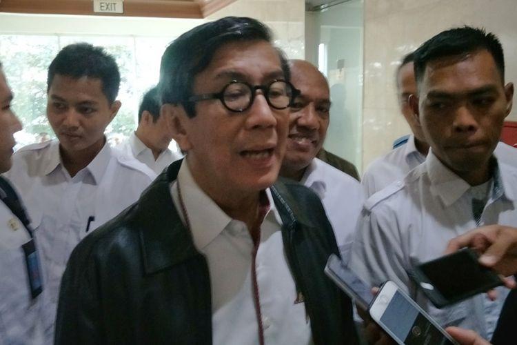 Menteri Hukum dan HAM Yasonna Laoly saat ditemui di gedung Nusantara II, DPR RI, Jakarta, Kamis (25/1/2018).