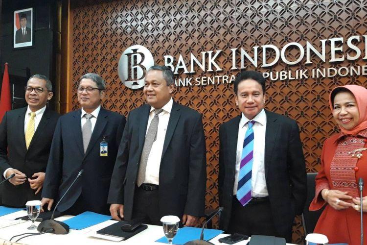 Jajaran Dewan Gubernur Bank Indonesia ketika memberikan paparan hasil Rapat Dewan Gubernur (RDG), Kamis (17/1/2019).