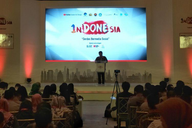 Acara penutupan rangkaian pelatihan #1nDONEsia: Cerdas Bermedia Sosial yang digagas oleh YouTube Creators for Change dan Maarif Institute, di UOB Plaza, Jakarta Pusat, Jumat (8/12/2017).