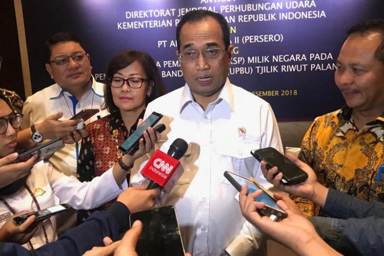 Menteri Perhubungan Budi Karya Sumadi saat diwawancarai di Jakarta, Rabu (19/12/2018).