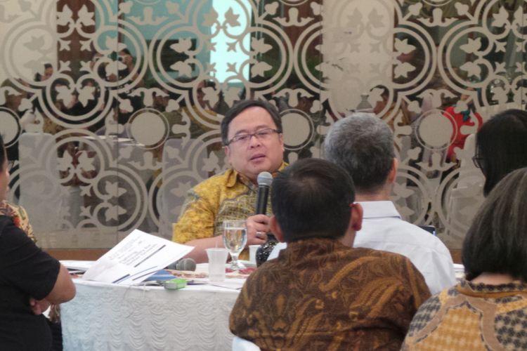 Menteri Perencanaan Pembangunan Nasional atau Kepala Bappenas Bambang Brodjonegoro, di Kantor Bappenas, Menteng, Jakarta Pusat, Jumat (4/8/2017).