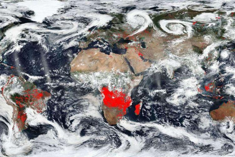 NASA rilis peta yang tunjukkan kebakaran hutan di Bumi.
