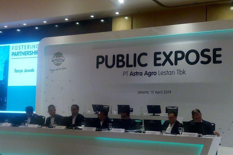 Anggota Direksi PT Astra Agro Lestari Tbk (AALI) menggelar konferensi pers hasil Rapat Umum Pemegang Saham Tahunan (RUPST) di Menara Astra, Jakarta Senin (15/4/2019).