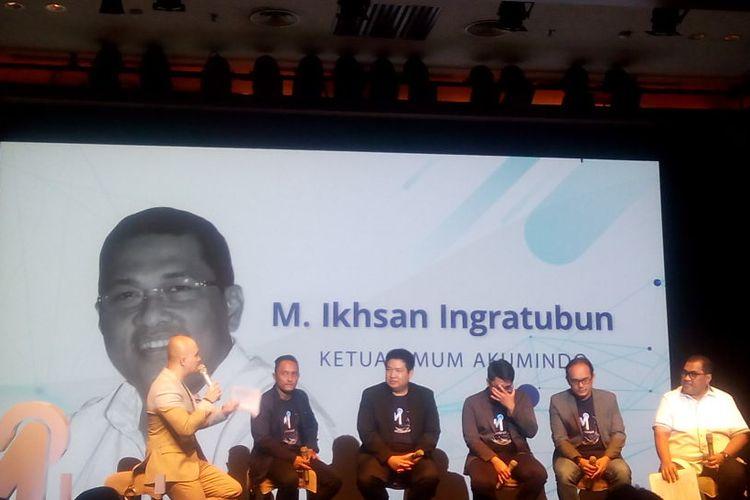 Ketua Asosiasi UMKM Indonesia (Akumindo), M. Ikhsan Ingratubun memberikan penjelaskan terkait UMKM Indonesia di Plaza Senayan, Senin (22/4/2019).