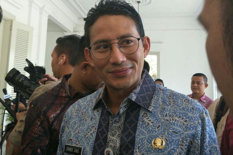 Wakil Gubernur DKI Jakarta Sandiaga Uno di Balai Kota DKI Jakarta, Jalan Medan Merdeka Selatan, Kamis (7/12/2017).