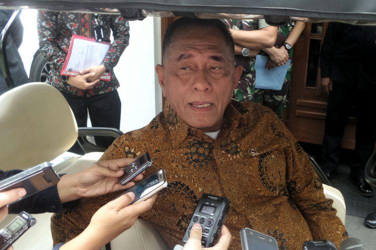 Menteri Pertahanan Ryamizard Ryacudu saat ditemui di Kementerian Pertahanan, Jakarta Pusat, Selasa (26/9/2017).
