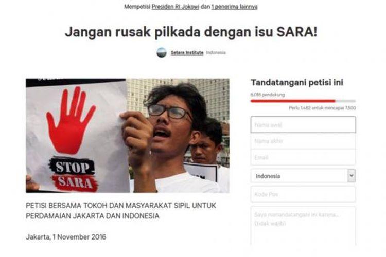 Ilustrasi isu SARA: Petisi Jangan rusak pilkada dengan isu SARA! di change.org.