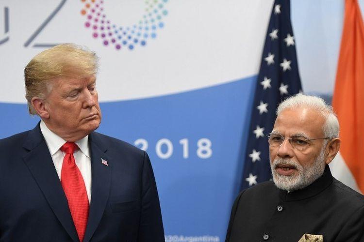 Presiden Amerika Serikat Donald Trump dan Perdana Menteri India Narendra Modi saat bertemu di KTT G20 di Buenos Aires, Argentina, pada 30 November 2018.