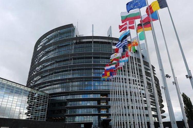 Gedung Parlemen Uni Eropa di Strasbourg, Perancis.